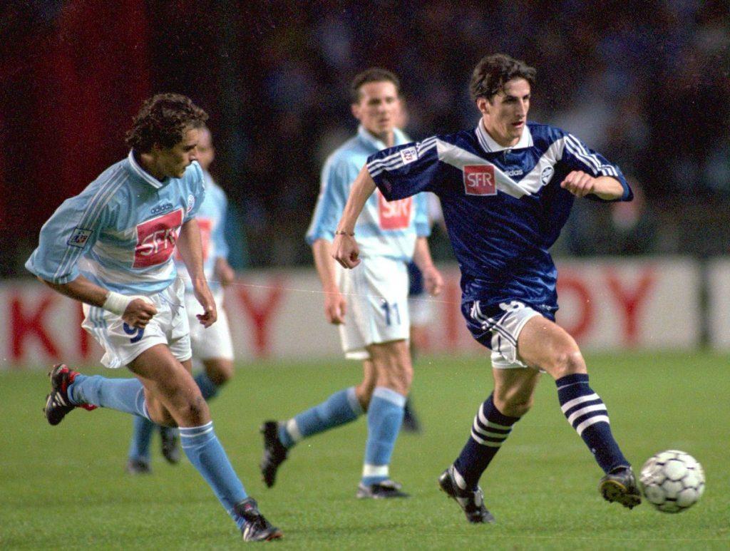 Contre Bordeaux, lors de la victoire en Coupe de la Ligue 1997