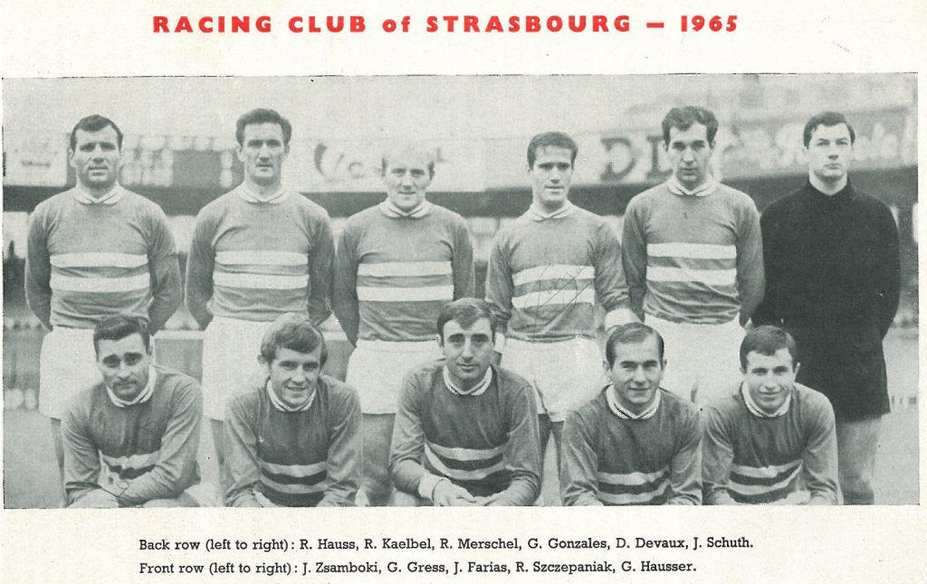 Le Racing Club de Strasbourg version 1964/1965, avant leur élimination face à Manchester United en quart de finale