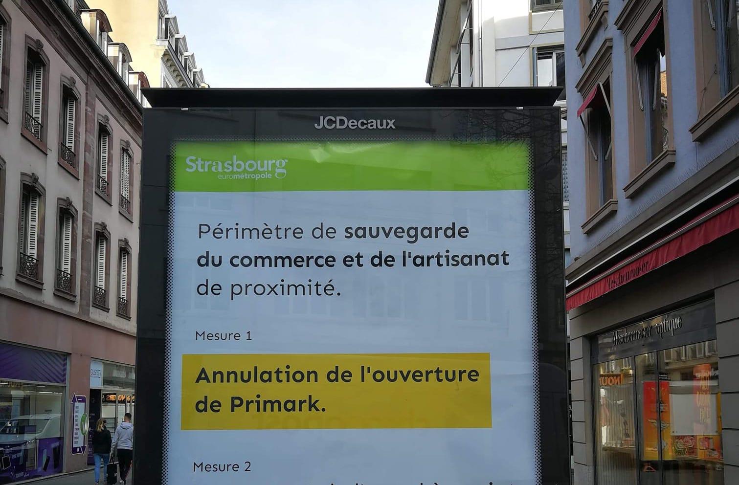 Annulation d'ouverture du Primark de Strasbourg ? une affiche sème le doute