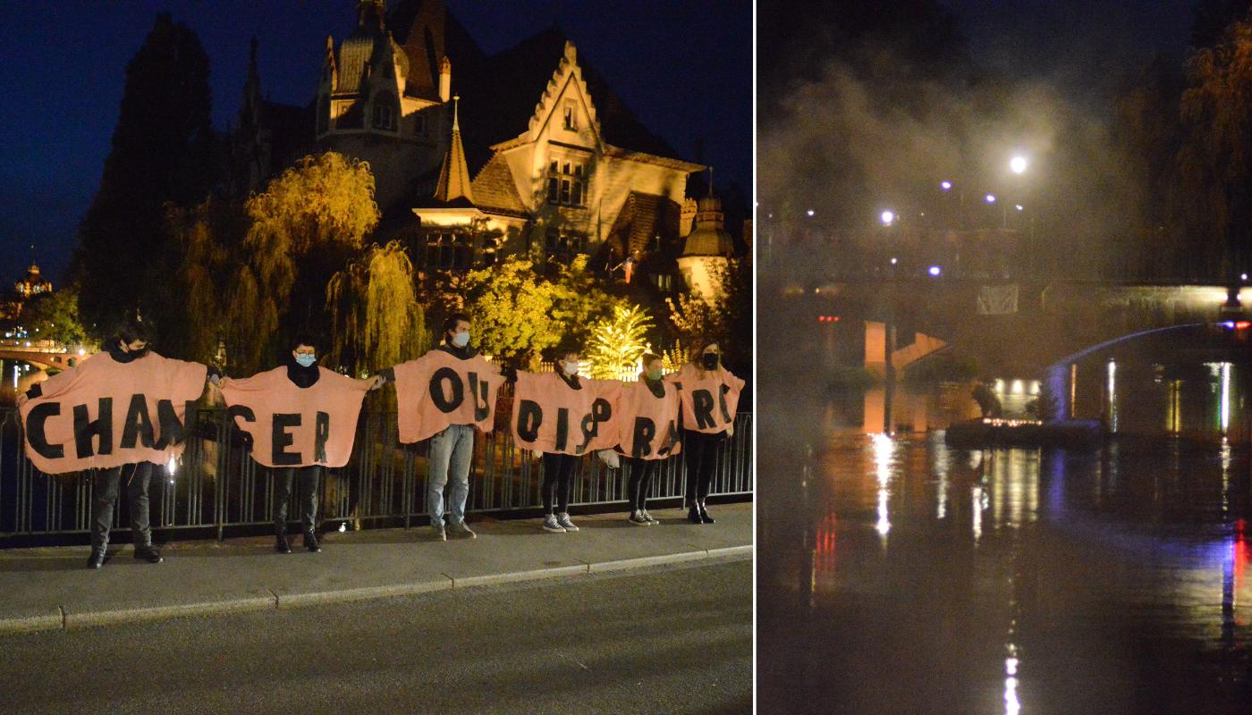 « Elle brûle, nous brûlons » : hier soir à Strasbourg, Extinction Rebellion dénonçait la déforestation