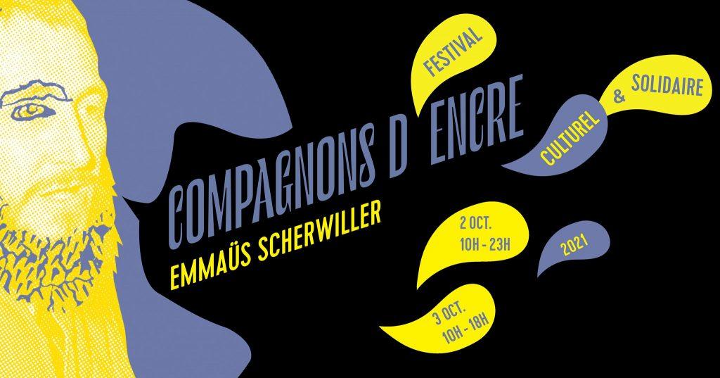 Affiche festival Compagnons d'encre pour Emmaüs Scherwiller
